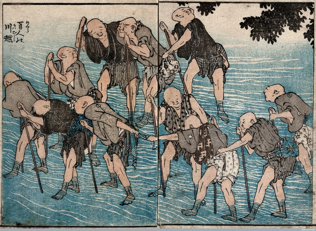 'Old blind men crossing a river' woodcut by Hokusai Katsushika c.1849 Credit: Wellcome Library, London