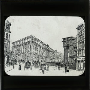 A drawing of a street and corner view of the General Post Office St Martin's le Grand.