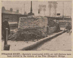 Air raid shelters near Newport Bridge (North Eastern Daily Gazette)